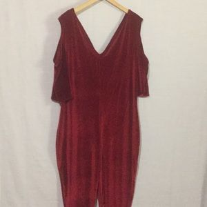 Ashley Stewart Red Velvet One Piece Cold Shoulder
